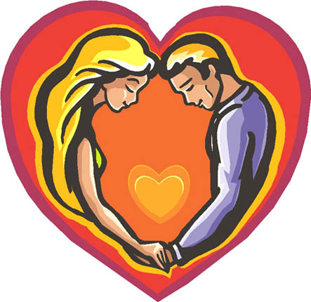 Drawings of hearts couple in orange love heart