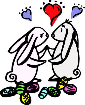 easter rabbits eggs love hearts