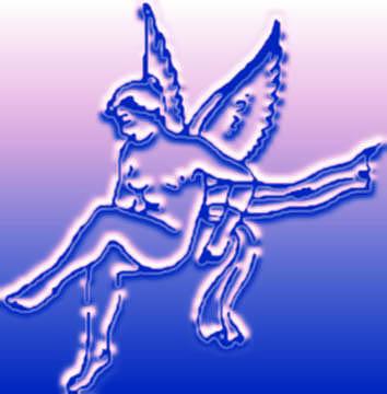 female cupid sketch blue relief