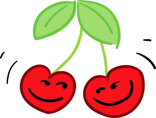 happy cherries red hearts