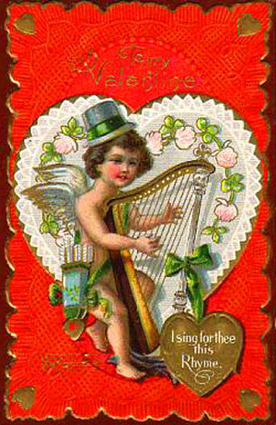 vintage valentine cupid playing harp