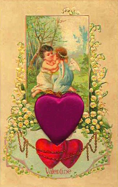 heart drawings 2 cupids kissing