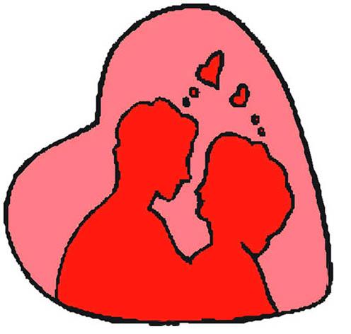 dibujos de amor couple in love inside pink heart
