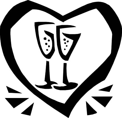 dibujos de amor black drawing heart champagne glass