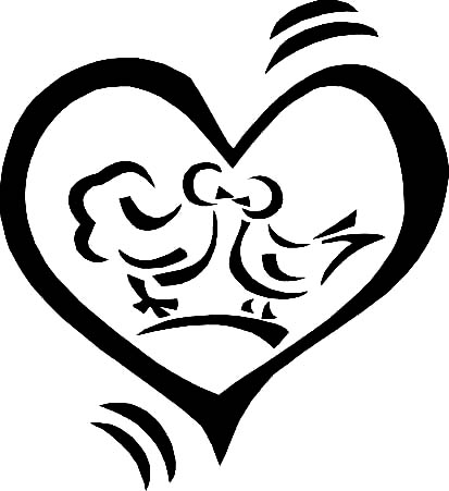 birds in a heart black drawing