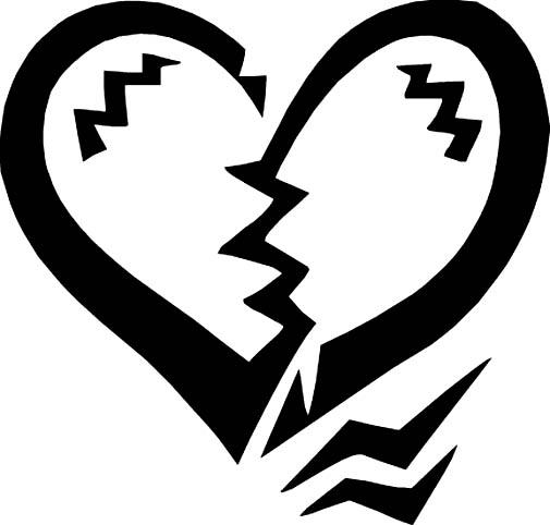 Broken heart black drawing