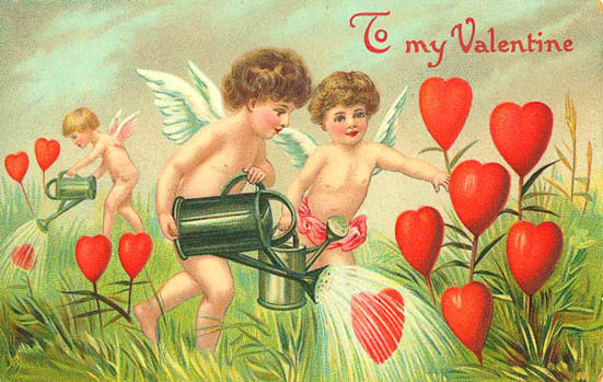 cupids watering love heart flowers