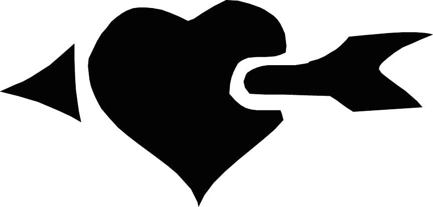 black drawing arrow piercing love heart