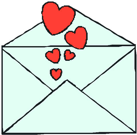 Love letter with red hearts