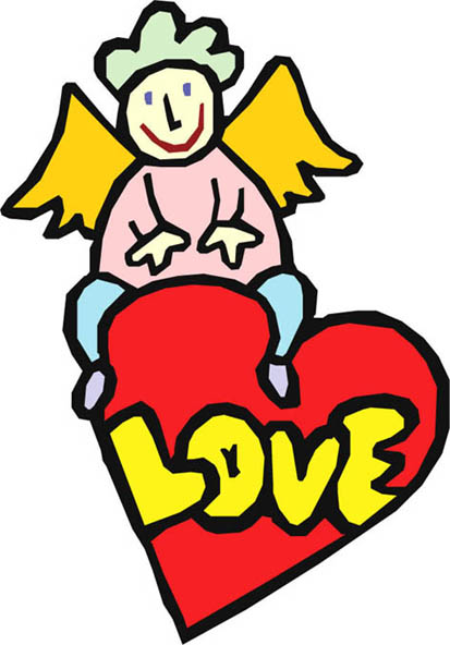 angel with red love heart text