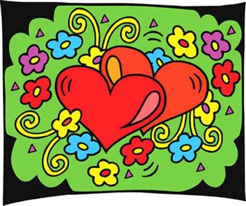 love heart and flowers