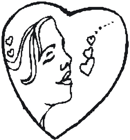 drawings love heart woman in heart sketch