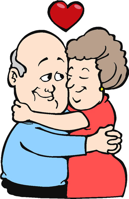 loving elderly couple red heart