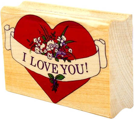wood red heart I love you