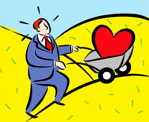 man pushing heart in wheelbarrow uphill