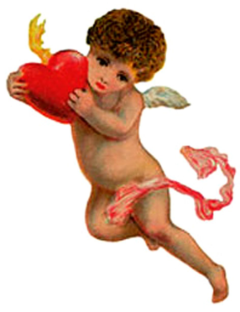 old picture angel kid cupid red love heart