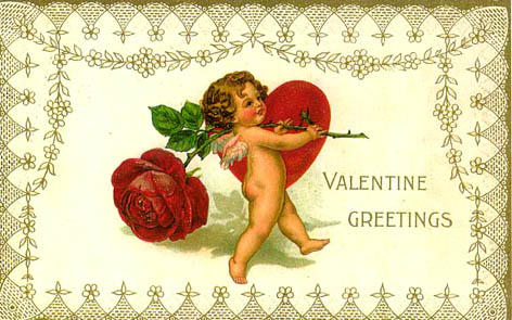 Valentine greetings cherub red heart red rose