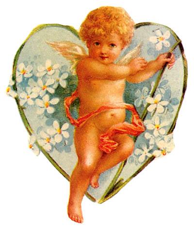 vintage cupid flower heart