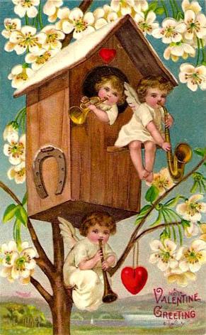 vintage music cherubs valentine