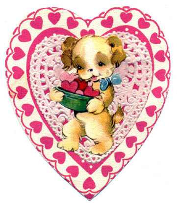 cute dog in pink valentine love heart drawing