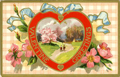 Valentine greeting rural ribbons flowers heart