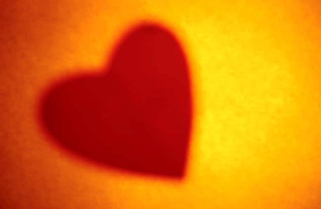 red heart yellow orange light