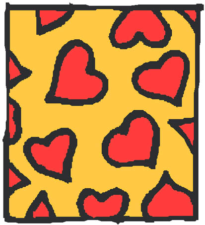 red hearts yellow background