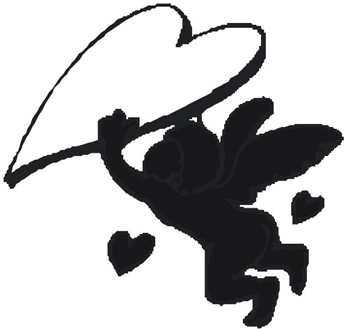 sketch cupid love heart black
