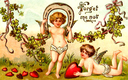 antique valentine two cupids red love hearts card