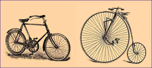 vintage bicycle drawing 1900 letting go