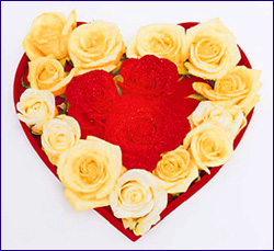 Love Tips - yellow and red roses in love heart shape