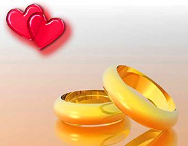 Love Tips - 2 red glass love hearts 2 gold rings